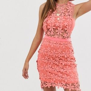 ASOS Misguided Lace Shift Dress in Coral